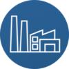 Industrie_Icon_blauer Hintergrund
